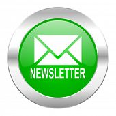 newsletter green circle chrome web icon isolated