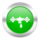 water green circle chrome web icon isolated