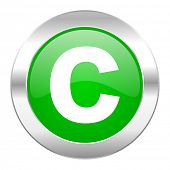 copyright green circle chrome web icon isolated