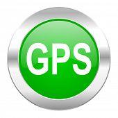 gps green circle chrome web icon isolated