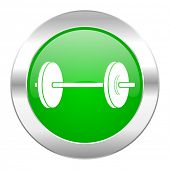 fitness green circle chrome web icon isolated