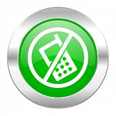 no phone green circle chrome web icon isolated