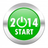 year 2014 green circle chrome web icon isolated