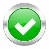 accept green circle chrome web icon isolated