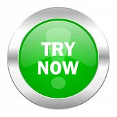 try now green circle chrome web icon isolated