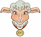 The head of sheep with a gold medal in 2015