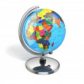 Globe with political map on white isolated background. 3d