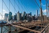 View of lower manhattan from Brooklyn bridge