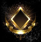 stock photo of brocade  - rhombus golden banner with gold ribbon on black background - JPG