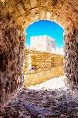 Window in Frangokastello fortress. Crete, Greece