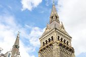 Towers of historic Healy Hall building of Georgetown University in Washington DC.