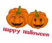 Two Jack-o-Lantern Pumpkins with Word Happy Halloween