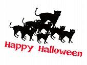 Three Evil Cat with Word Happy Halloween