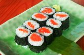 Maki Rolls With Fresh Salmon With Wasabi