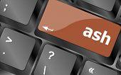 Ash Word On Keyboard Key, Notebook Computer