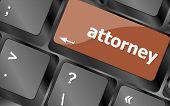 Attorney Word On Keyboard Key, Notebook Computer