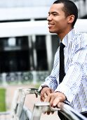 peaceful african american businessman outdoor