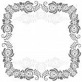 Russian ornaments art frame in gzhel style