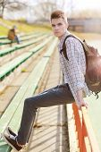 Outdoor Lifestyle Portrait Of Handsome Guy With Backpack Summer Sunny Day