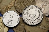 Coins of Israel. Two cornucopia depicted in the Israeli two new shekels coin and the Israeli one new shekel coin.
