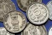 Coins of India. The Sarnath Lion Capital of Ashoka served as the state emblem of India depicted in the Indian five rupees coin.