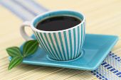 Black coffee in vintage cup