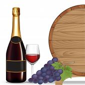 Bottle Wine,grape,glass Wine And Wooden Barrel ,vector Illustration