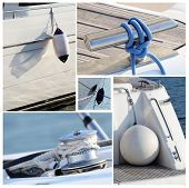 Collage Of Modern Sailing Boat Stuff - Winches, Boat Fenders,ropes And Snatch Cleats
