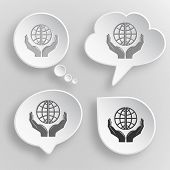 Protection world. White flat raster buttons on gray background.