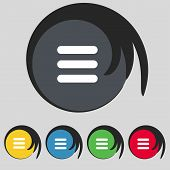 settings sign icon. gear mechanism symbol. Set colourful buttons. Vector