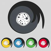 Pizza Icon. Set colourful buttons sign. Vector