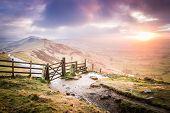 Sunrise On The Great Ridge In The Peak District, England
