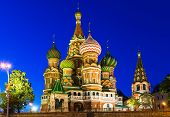 Night view of Saint Basil's Cathedral in Moscow