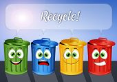 image of garbage bin  - an illustration of Garbage bins for recycle - JPG