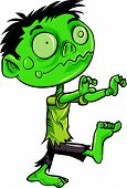 stock photo of undead  - Cartoon illustration of a ghoulish undead green zombie in tattered clothing with a skull - JPG