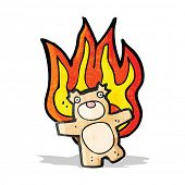 cartoon teddy bear on fire