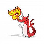 fire breathing cartoon little dragon