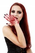Redhead Witch Blood On Hands