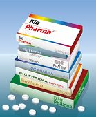 image of pharmaceutical company  - A pile of medicine packets named BIG PHARMA - JPG