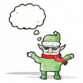 cartoon christmas elf with sunglasses
