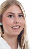 image of nose piercing  - Portrait of a young blonde girl with nose piercing - JPG