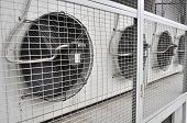 stock photo of air conditioner  - An outdoor unit of a commercial air conditioner - JPG