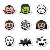 image of halloween characters  - Vector icons set of creepy or scary Halloween characters isolated on white - JPG