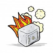 cartoon old bank safe on fire