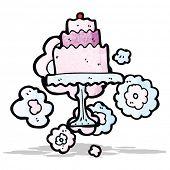 cartoon cake on cake stand