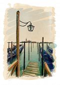 Venice. Quay Piazza San Marco. Gondolas on the water. & the view of the island of San Giorgio Maggiore. Vector drawing. Eps10