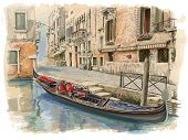 Venice - Calle Fondamenta Megio. Ancient building & gondola. Vector drawing