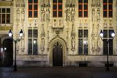 House details on Burg square in Bruges, Belgium