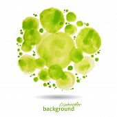 Green watercolor blots abstract dots background