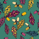 vector seamless pattern with leaves of oak